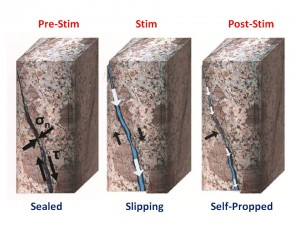 "The hydroshearing process: Prior to stimulation, natural fractures in a geothermal well are kept tightly closed by the pressure from surrounding rock. During stimulation, high-pressure water pumped into the well induces very small amounts of slip along these fractures. The rough texture of fracture surfaces causes them to ""self-prop"", or remain open, enough for water to flow through after stimulation."