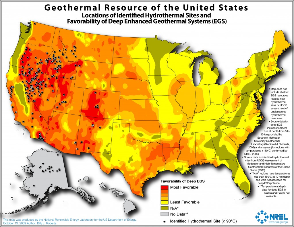 The development potential of EGS in the US is great. By implementing stand-alone EGS, much of the US could benefit from geothermal power in the near future, and advances in EGS technology can also significantly improve productivity at traditional hydrothermal sites as well. Map and data produced by National Renewable Energy Laboratory for the US Dept. of Energy (2009).
