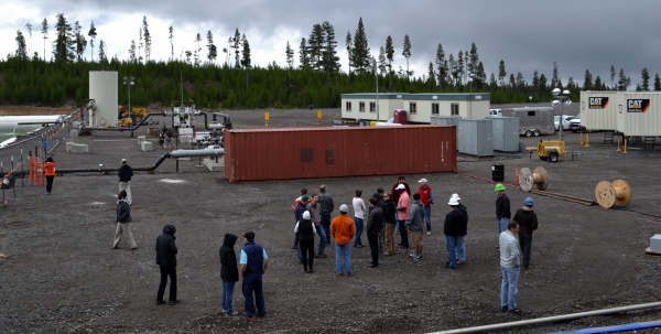 As part of the Geothermal Resource Council's Newberry field trip, 24 visiting scientists, government officials, journalists, professors and others interested in geothermal research visited the Newberry EGS Demonstration site in late September just after stimulation began.