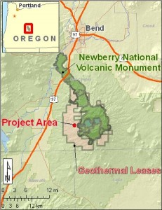 Location of Newberry EGS Demonstration project and geothermal leases south of Bend, Oregon
