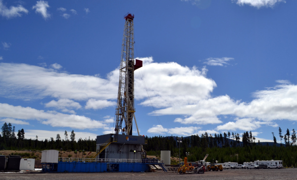 he drill rig up and running on the injection well pad at the Newberry EGS Demonstration.