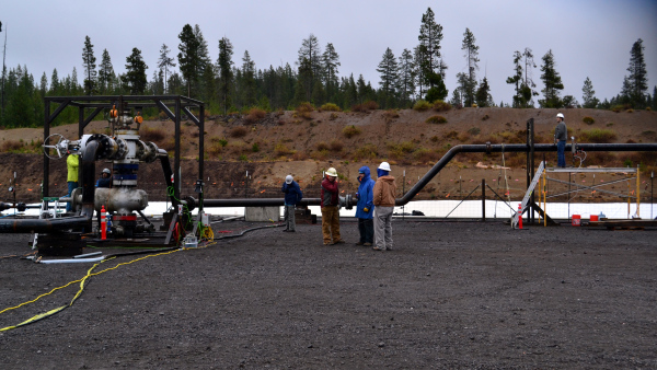 Opening the wellhead master valve at the start of the November, 2014 flow test.